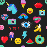 Pop art fashion chic seamless pattern with patches, pins, badges and stickers Royalty Free Stock Image
