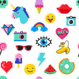 Pop art fashion chic seamless pattern with patches, pins, badges and stickers Stock Photo