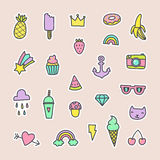 Pop art fashion labels. Can be used for pins, stickers, patches design. Vector hand drawn cartoon illustration Royalty Free Stock Photos