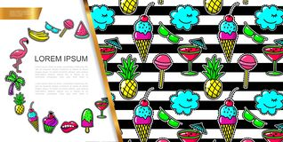 Pop Art Fashion Patches Composition royalty free stock photography