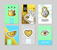Pop Art Fashionable Posters Set. Trendy 80s-90s Fashion Banners with Badges and Patches for Placards, Covers Design. Invitations, Advertising. Vector royalty free illustration