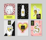 Pop Art Fashionable Posters Set. Trendy 80s-90s Fashion Banners with Badges and Patches for Placards, Covers Design. Party Invitations, Advertising. Vector Stock Photography