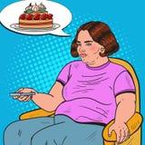 Pop Art Fat Woman Watching-TV met Ver Controlemechanisme en het Dromen over Zoet Voedsel Het ongezonde eten Royalty-vrije Stock Foto
