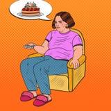 Pop Art Fat Woman Watching-TV met Ver Controlemechanisme en het Dromen over Zoet Voedsel Het ongezonde eten Royalty-vrije Stock Fotografie