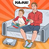 Pop Art Father and Son Playing Video Game on a Game Console.   Royalty Free Stock Images