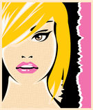 Pop Art female face vector Stock Images