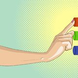 Pop art female finger presses the button. The hand of man makes a choice. Three colors. Vector Stock Photo