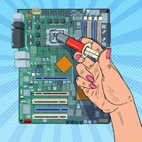 Pop Art Female Hand of Computer Engineer Repairing CPU on Motherboard. Maintenance PC Hardware Upgrade. Vector illustration Royalty Free Stock Images