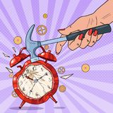 Pop Art Female Hand Holding Hammer and Broking Alarm Clock Royalty Free Stock Photography