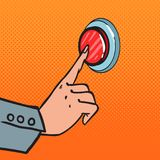 Pop Art Female Hand Pushing a Red Button. Call for Help. Vector illustration Stock Image