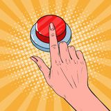 Pop Art Female Hand Pushing a Red Button. Call for Help. Vector illustration Stock Photos