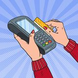 Pop Art Female Hands Swiping Credit Card with Bank Terminal. Payment with POS in Store. Vector illustration vector illustration