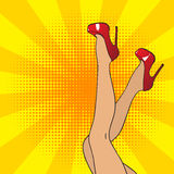 Pop art female legs in red shoes on high heels. Comic style Royalty Free Stock Images
