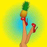 Pop art female legs in red shoes on high heels with pineapple. C Royalty Free Stock Image