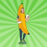 Pop Art Female Promoter with Advertising Flyers. Woman in Banana Costume. Teenage Cheerful Girl Promoting Something Stock Images