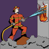 Pop art firefighter. Royalty Free Stock Images