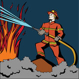 Pop art firefighter. Stock Photography