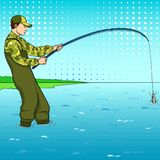 Pop art fisherman standing in water and fighting fish. Pool of a stream. Comic book style imitation. Vintage retro style. Vector Stock Photography
