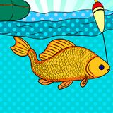 Pop art fishing. Fish caught on the hook. Carp is close to the camera. Image Comic book style imitation. Pop art fishing. Fish caught on the hook. Carp is close Royalty Free Stock Images