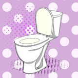 Pop Art Flush Toilet, WC. Color Background. Comic Book Style Imitation. Royalty Free Stock Photo