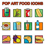 Pop art food icons vector illustration