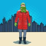 Pop Art Frozen Man in Warm Winter Clothes. In the City. Cold Weather. Vector illustration Royalty Free Stock Photo
