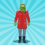 Pop Art Frozen Man in Warm Winter Clothes. Cold Weather. Vector illustration Royalty Free Stock Photo