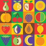 Pop Art Fruit flat style in a checkerboard design. vector illustration