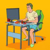 Pop Art Frustrated Man Playing Video Games. Computer Addicted Guy Royalty Free Stock Photography