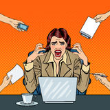 Pop Art Frustrated Stressed Business Woman Screaming at Multi Tasking Office Work. Vector illustration vector illustration