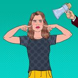 Pop Art Frustrated Woman Closed Ears with Fingers from Megaphone. Ignorance Concept. Vector illustration Royalty Free Stock Images