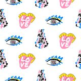 Pop art fun seamless funky pattern with lettering design. Bright face details background artistic texture Stock Image