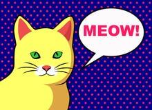 Pop-art gele kat met tekstbel vector illustratie