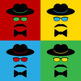 Pop art gentleman icons. Illustration Stock Photo