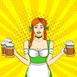 Pop art Germany Girl waitress carries five beer glasses. Concept oktoberfest. Comic book style imitation. Pop art Germany Girl waitress carries five beer Stock Image