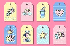 Pop art gift tags templates with funny patches. Stickers, pins, patches doodle in cartoon retro 80s-90s style. Vector illustration royalty free illustration