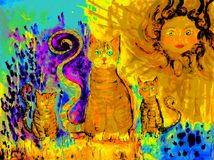 Pop art ginger cat with two kitten on a sunny day in a lavender field. The dabbing technique near the edges gives a soft focus effect due to the altered Royalty Free Stock Photos