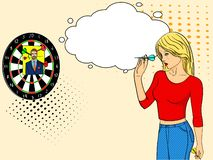 Pop art girl cries and plays in a wall mounted shooting gallery. Dart in a photo of a man. Imitation comic style. text. Pop art girl cries and plays in a wall royalty free illustration