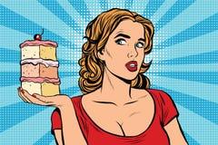 Pop art girl diet cake Stock Image