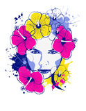 Pop-art girl with flowers of hibiscus Royalty Free Stock Image