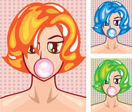 Pop Art Girl and gumball Royalty Free Stock Image