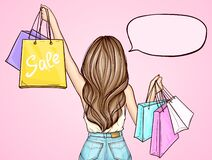 Free Pop Art Girl Holding Shopping Bags Stock Photo - 183732380