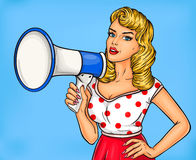 Pop art girl with megaphone. Vector illustration pop art girl with megaphone announce discounts and sales Royalty Free Stock Photo