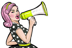 Pop art girl with megaphone. Woman with loudspeaker. Girl announcing discount or sale. Shopping time. Protest, meeting, feminism, woman rights, woman protest Stock Photography