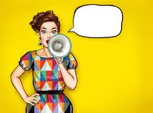 Pop art girl with megaphone. Woman with loudspeaker. Girl announcing discount. Shopping time
