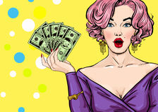 Pop Art girl with the money.Pop Art girl. Birthday greeting card. Hollywood movie star. Vintage advertising poster. Fashion woman Royalty Free Stock Photos