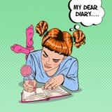 Pop Art Girl in Pink Socks Writing in Diary Royalty Free Stock Image