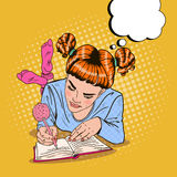 Pop Art Girl in Pink Socks Writing in Diary Royalty Free Stock Photos