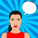 Pop art girl portrait with blank speech bubble. Comic female at sunburst background with dot halftone effect. Vector. royalty free illustration
