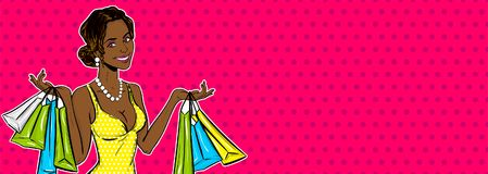 Free Pop Art Girl Sale Shopping Bag Stock Image - 116904401